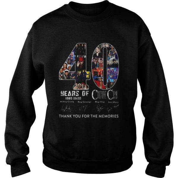 40 Years Of Culture Club 1980 2020 Thank You For The Memories Signature  Sweatshirt