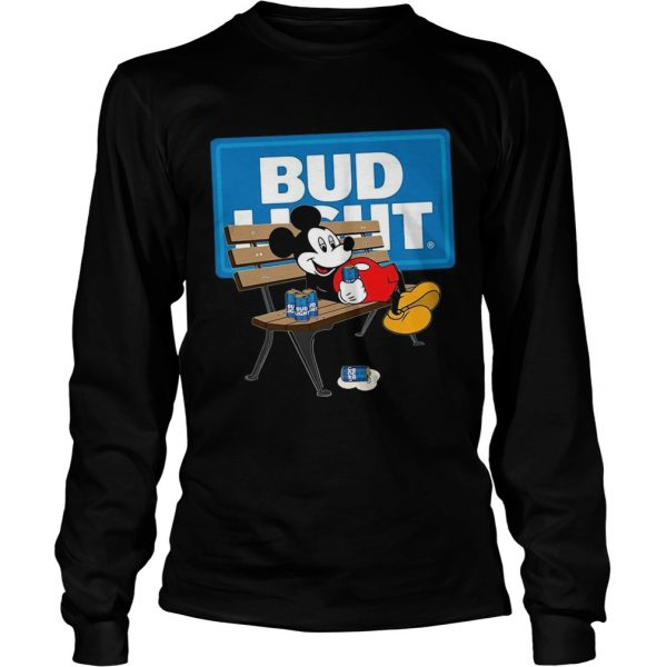 Mickey Mouse Drinking Bud Light Beer  Long Sleeve