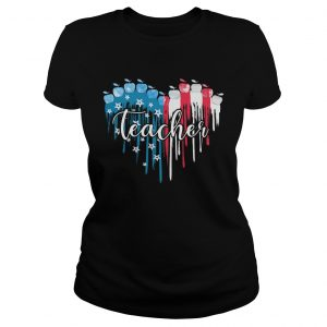 Teacher heart American flag veteran Independence Day  Classic Ladies