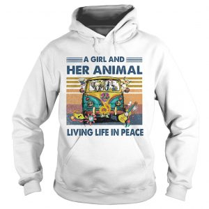 Hippie bus a girl and her animal living life in peace vintage retro  Hoodie