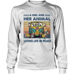 Hippie bus a girl and her animal living life in peace vintage retro  Long Sleeve
