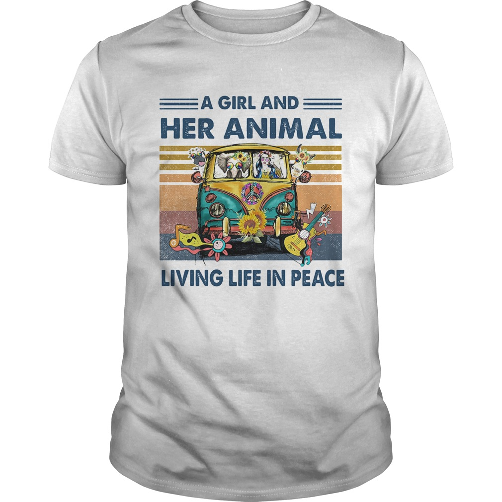 Hippie bus a girl and her animal living life in peace vintage retro  Unisex