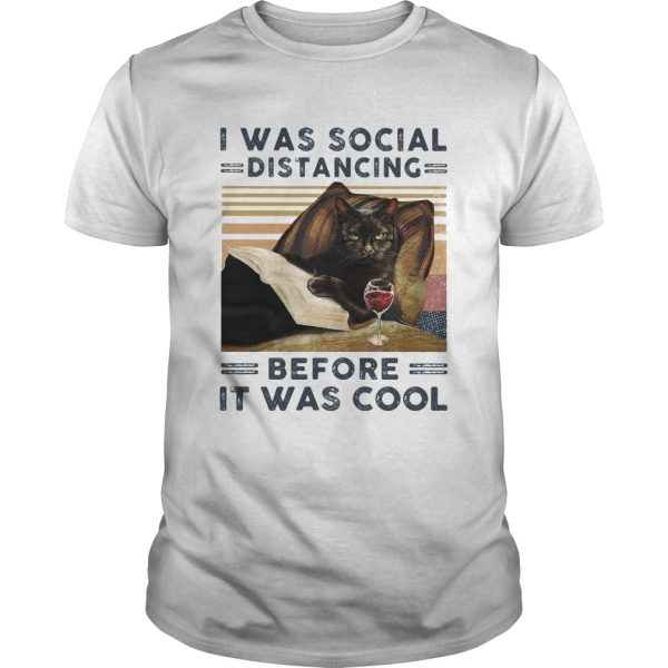 I was social distancing before it was cool cat book wine vintage retro  Unisex