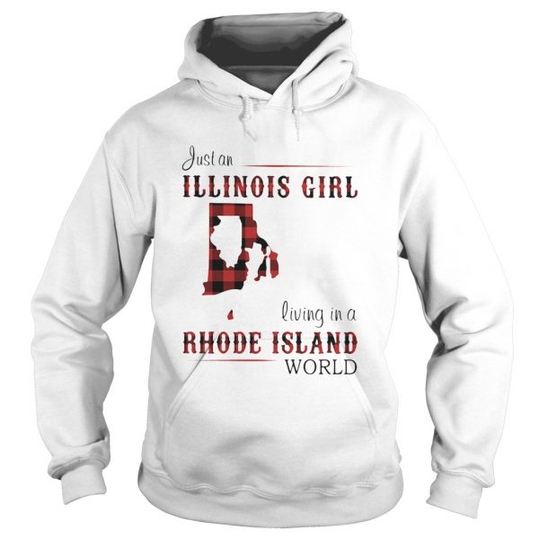 Just an ILLINOIS GIRL living in a RHODE ISLAND world Map  Hoodie