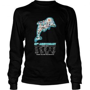 Miami dolphins logo 55th anniversary 1966 2021 thank you for the memories signatures  Long Sleeve