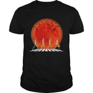Skeleton Walking crossing the line Halloween sunset  Unisex