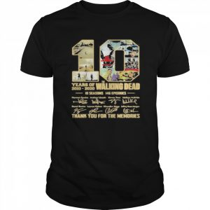 10 years of 2010 2020 the walking dead 10 seasons 146 episodes thank for the memories signatures  Classic Men's T-shirt