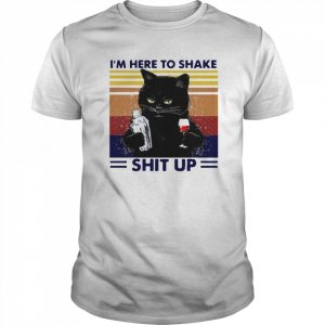 Black Cat Im Here To Shake Shit Up Vintage  Classic Men's T-shirt
