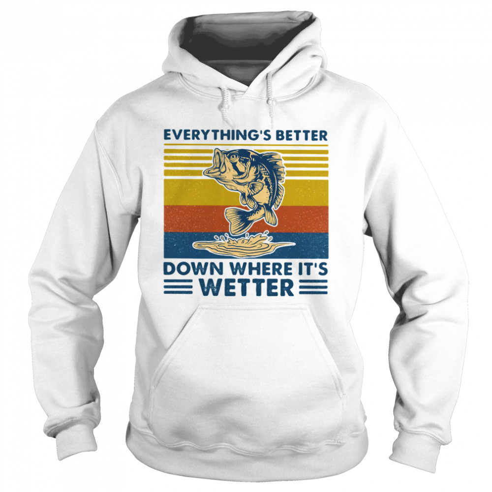 Everythings Better Down Where Its Wetter Fish Vintage Retro  Unisex Hoodie