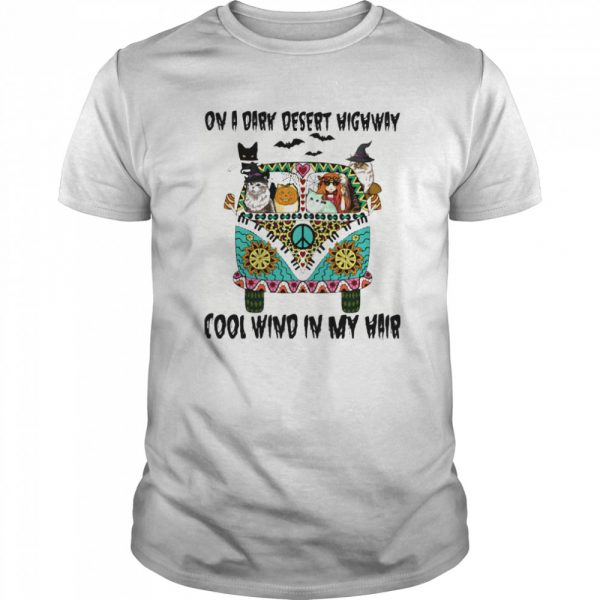 On A Dark Desert Highway Cool Wind In My Hair Halloween Hippie Girl And Cats Riding Car  Classic Men's T-shirt
