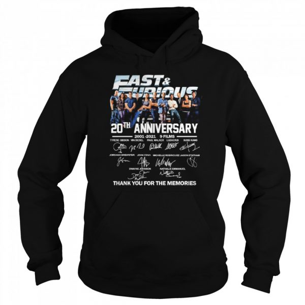 Fast and Furious 20th anniversary 2001 2021 9 films thank you for the memories  Unisex Hoodie