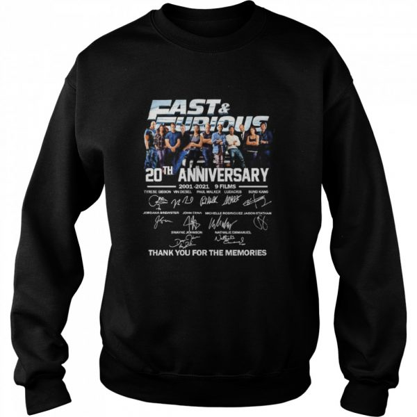 Fast and Furious 20th anniversary 2001 2021 9 films thank you for the memories  Unisex Sweatshirt