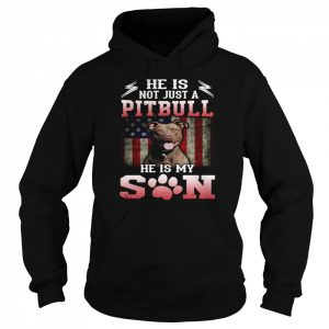 He Is Not Just A Pitbull He Is My Son American Flag  Unisex Hoodie