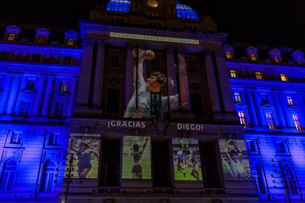 A Thank you Diego sign was projected onto the Centro Cultural Kirchner a large arts complex in Buenos Aires