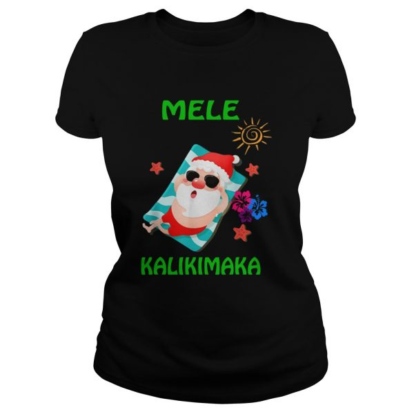Beach Santa Mele Kalikimaka Hawaiian Christmas Hawaii  Classic Ladies