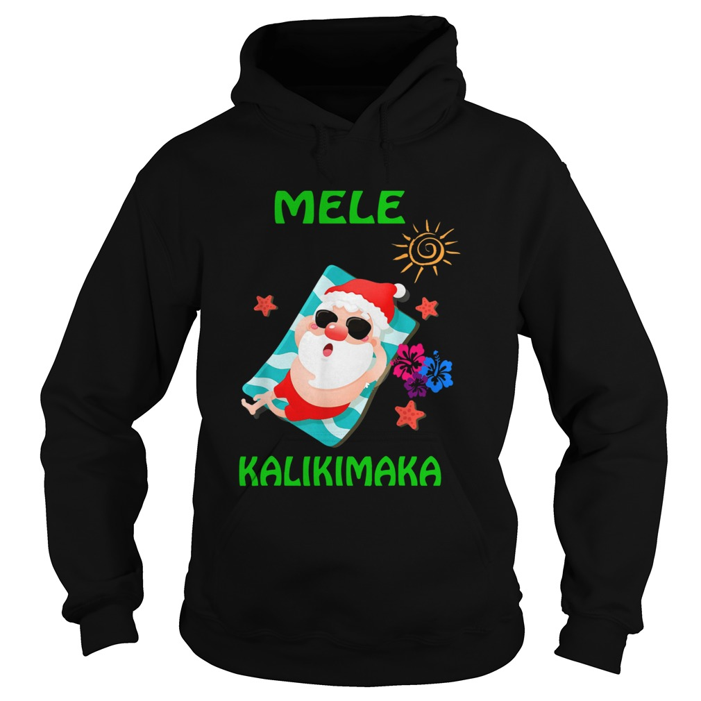 Beach Santa Mele Kalikimaka Hawaiian Christmas Hawaii  Hoodie
