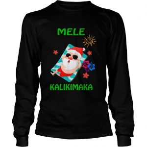 Beach Santa Mele Kalikimaka Hawaiian Christmas Hawaii  Long Sleeve