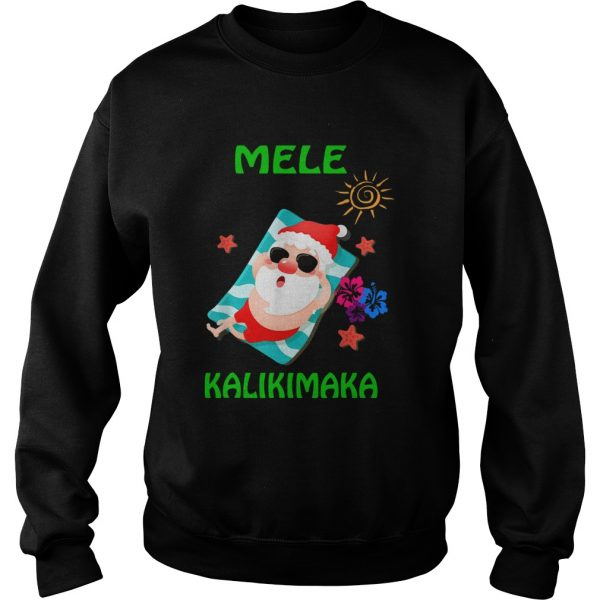 Beach Santa Mele Kalikimaka Hawaiian Christmas Hawaii  Sweatshirt