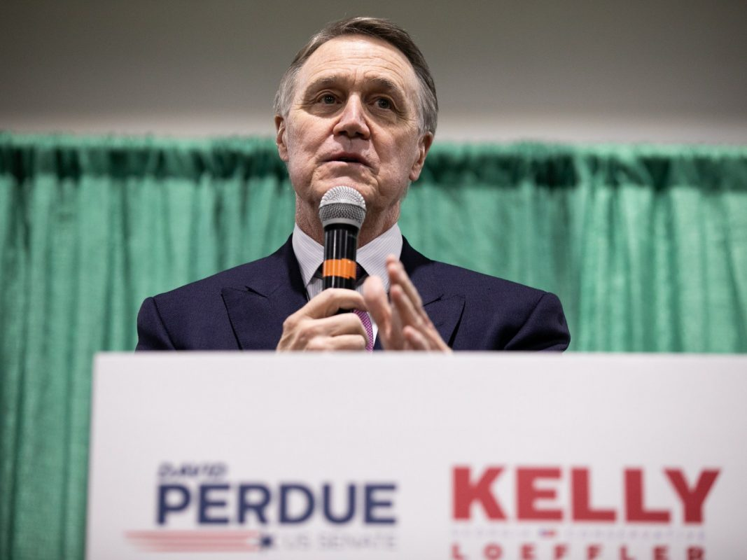 David Perdue addresses supporters during a November 19 rally hosted with fellow GOP senatorial candidate Kelly Loeffler in Perry Georgia