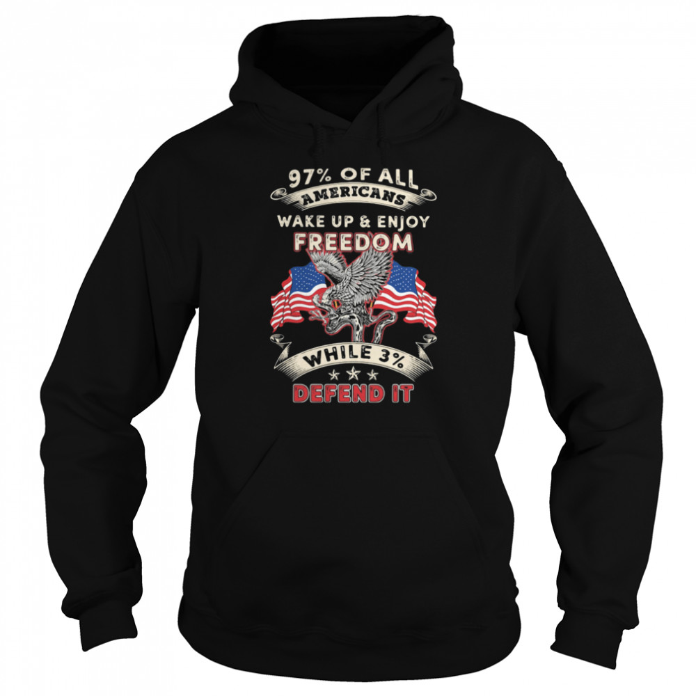 97% All Of Americans Wake Up And Enjoy Freedom While 3% Defend It American Flag  Unisex Hoodie
