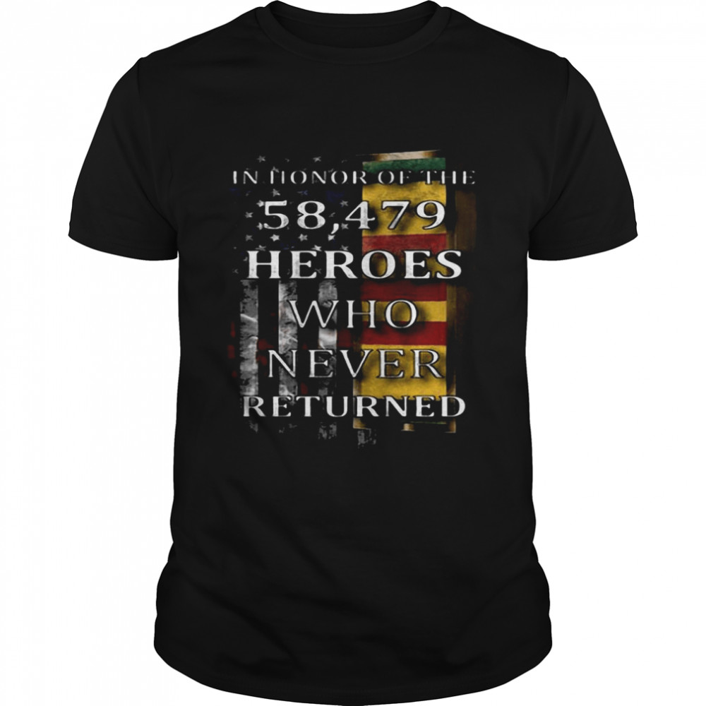 American Flag In Honor Of The 58.479 Heroes Who Never Returned  Classic Men's T-shirt