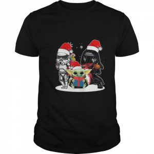 Baby Yoda And Darth Vader Stormtrooper Merry Christmas  Classic Men's T-shirt