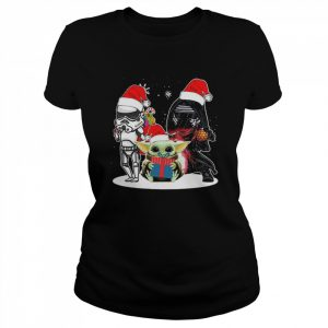 Baby Yoda And Darth Vader Stormtrooper Merry Christmas  Classic Women's T-shirt