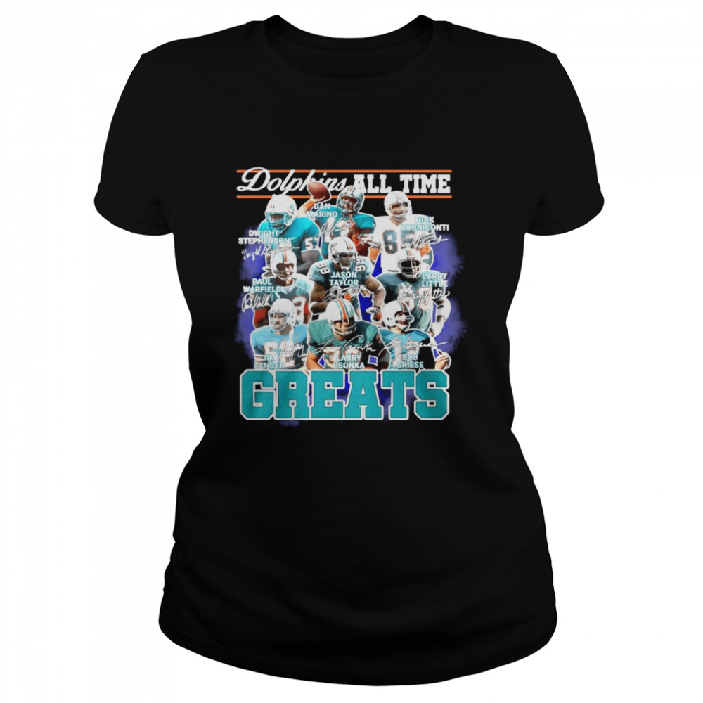 Dolphins All Time Greats Team Play Signatures  Classic Women's T-shirt