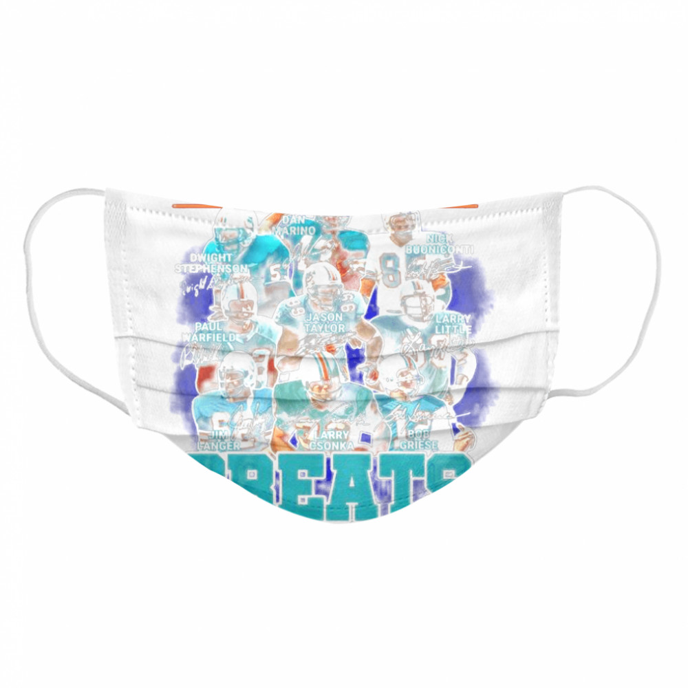 Dolphins All Time Greats Team Play Signatures  Cloth Face Mask