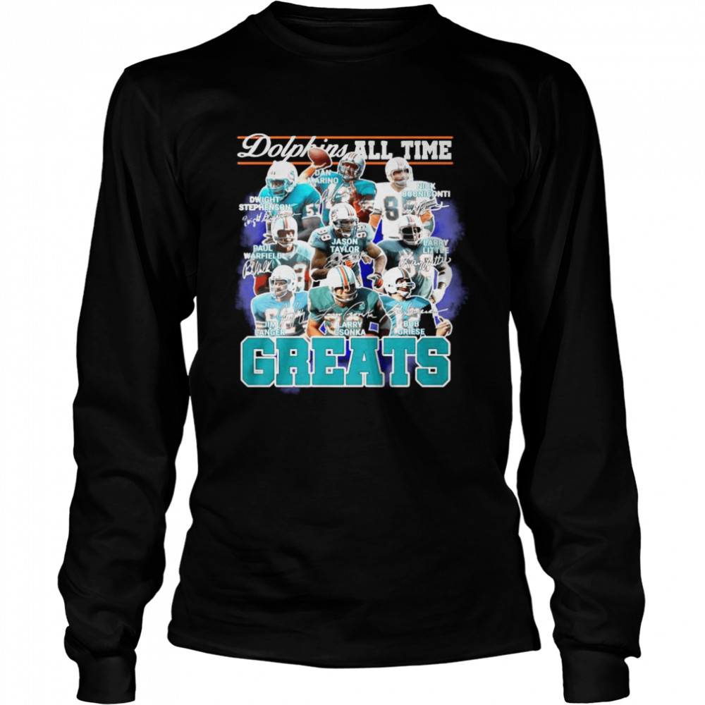 Dolphins All Time Greats Team Play Signatures  Long Sleeved T-shirt