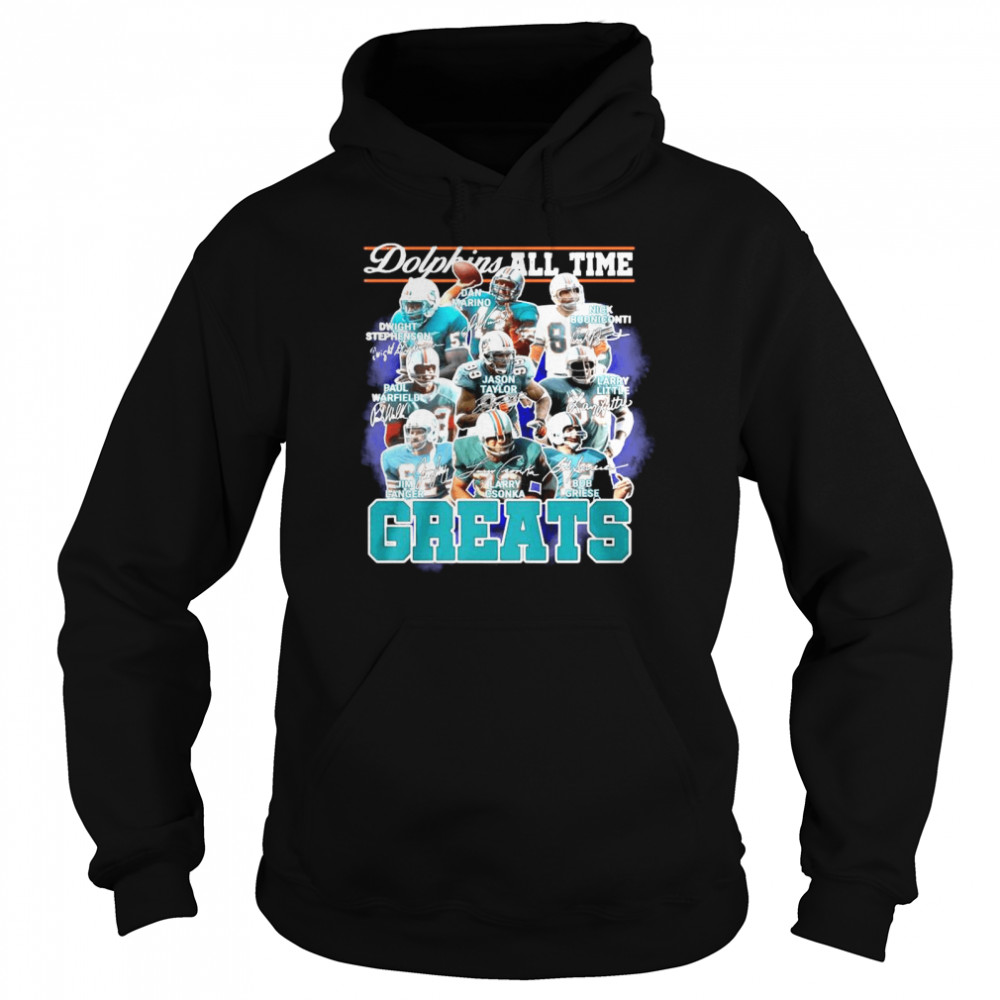 Dolphins All Time Greats Team Play Signatures  Unisex Hoodie