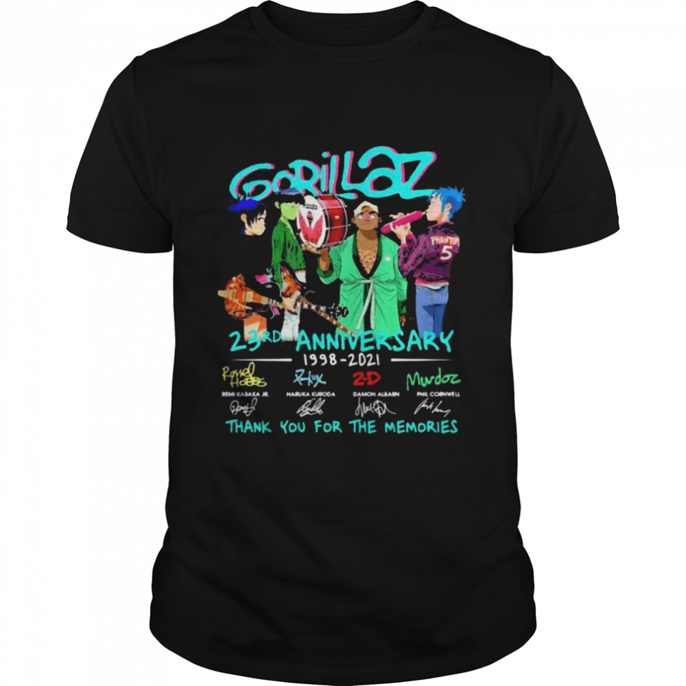 Gorillaz 23rd Anniversary 1998 2021 Thank You For The Memories Signature  Classic Men's T-shirt
