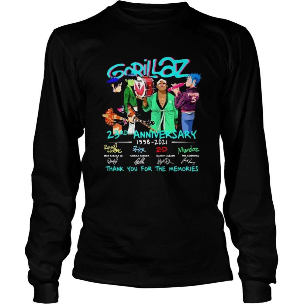 Gorillaz 23rd Anniversary 1998 2021 Thank You For The Memories Signature  Long Sleeved T-shirt