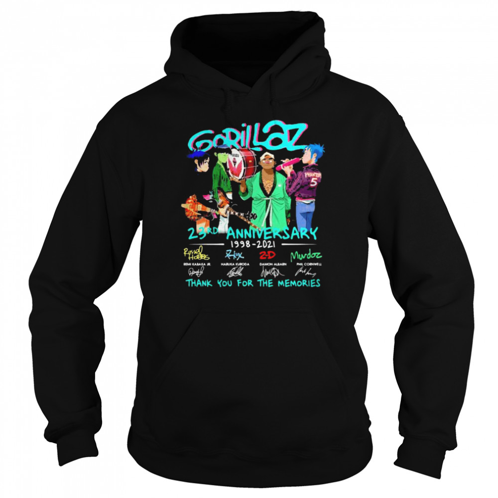 Gorillaz 23rd Anniversary 1998 2021 Thank You For The Memories Signature  Unisex Hoodie