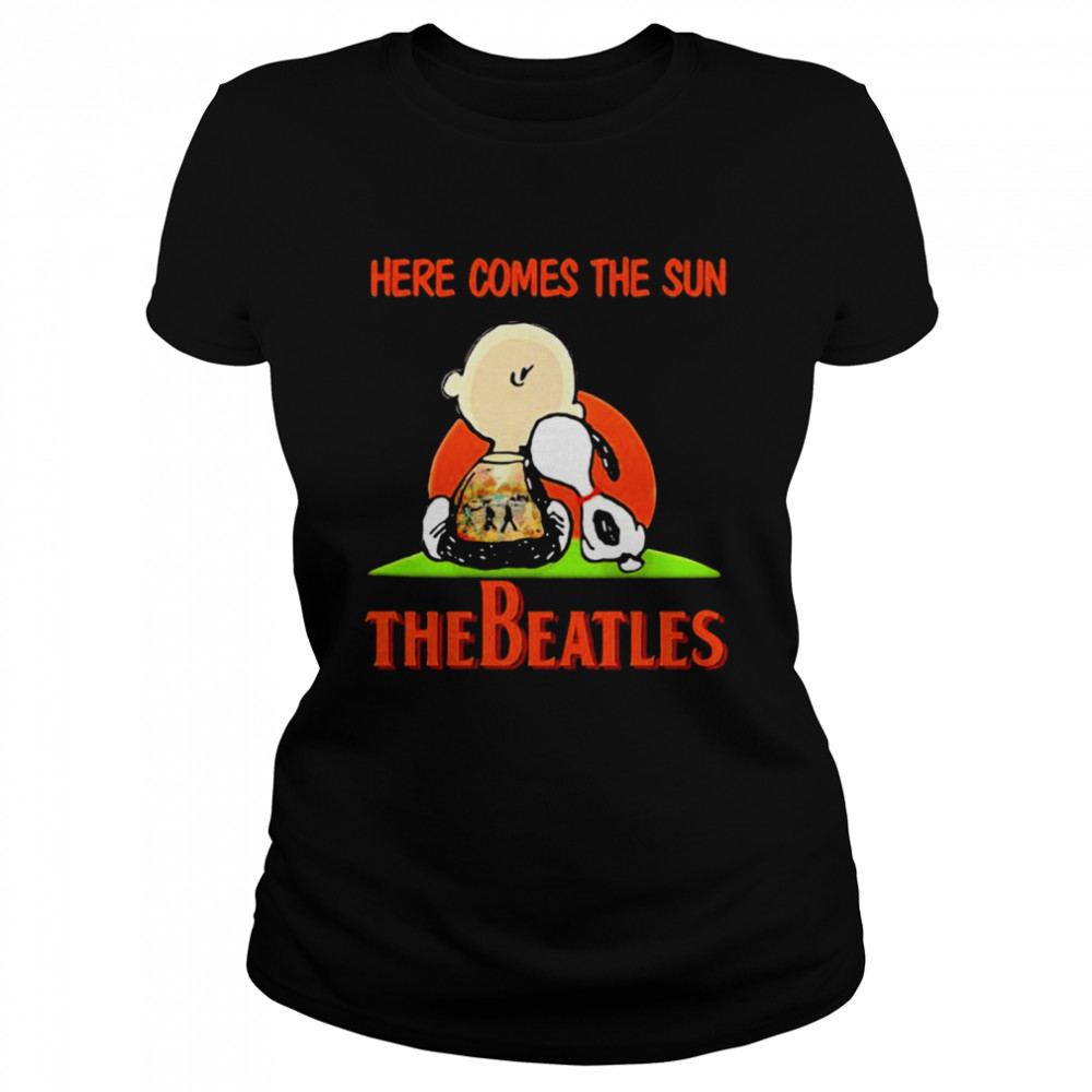 Here Comes The Sun The Beatles Snoopy Friend  Classic Women's T-shirt