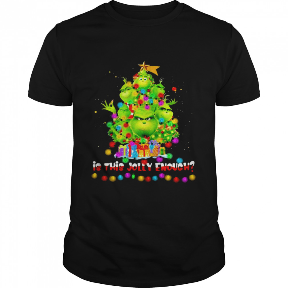 Is This Jolly Enough Lights Grinch Christmas Tree Xmas  Classic Men's T-shirt