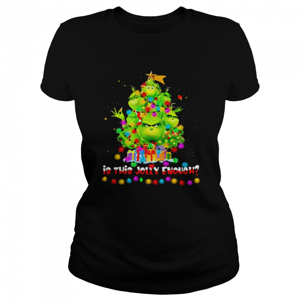 Is This Jolly Enough Lights Grinch Christmas Tree Xmas  Classic Women's T-shirt