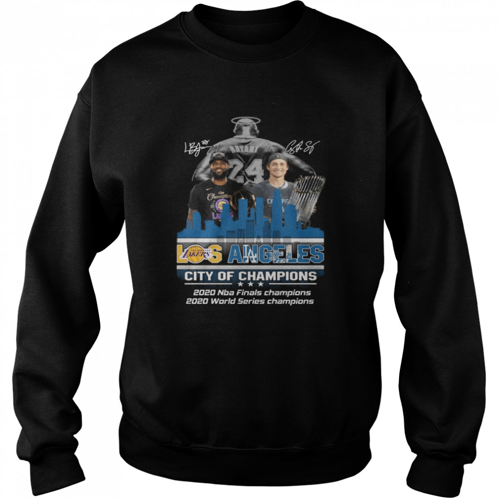 Kobe Bryant LeBron James and Corey Seager Los Angeles Lakers Dodgers City Of Champions 2020 Signatures  Unisex Sweatshirt