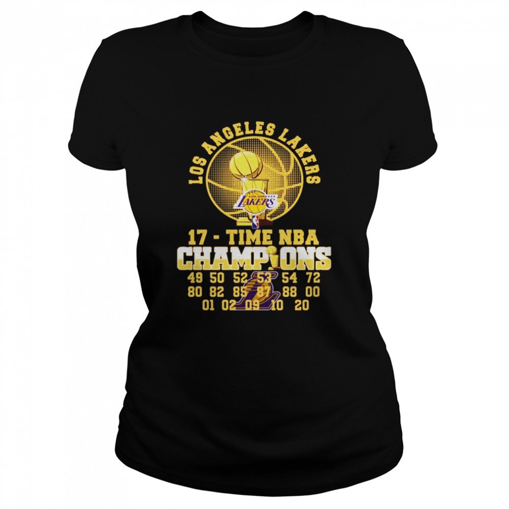 Los Angeles Lakers 17 Time Nba 2020 Champions 49 50 52 53 54 72 80  Classic Women's T-shirt