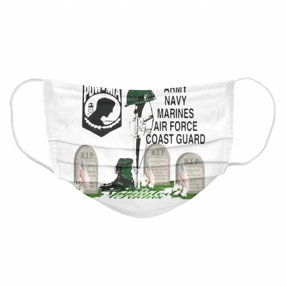 Never Forgotten Army Navy Marines Airforce Coast Guard  Cloth Face Mask