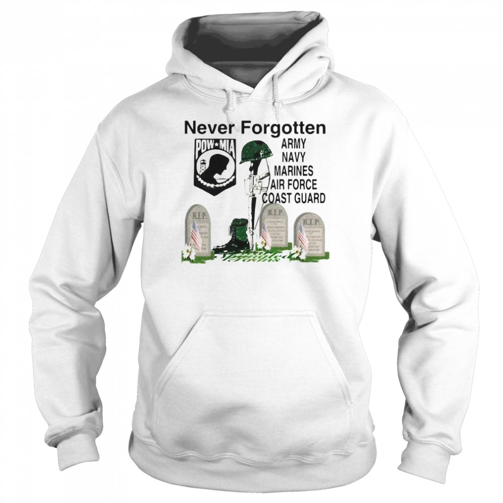 Never Forgotten Army Navy Marines Airforce Coast Guard  Unisex Hoodie