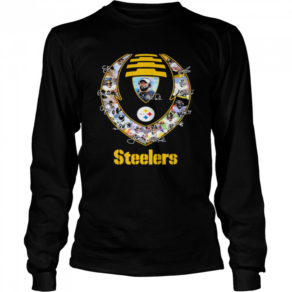 Rugby Ball Pittsburgh Steelers Signature Team Football  Long Sleeved T-shirt