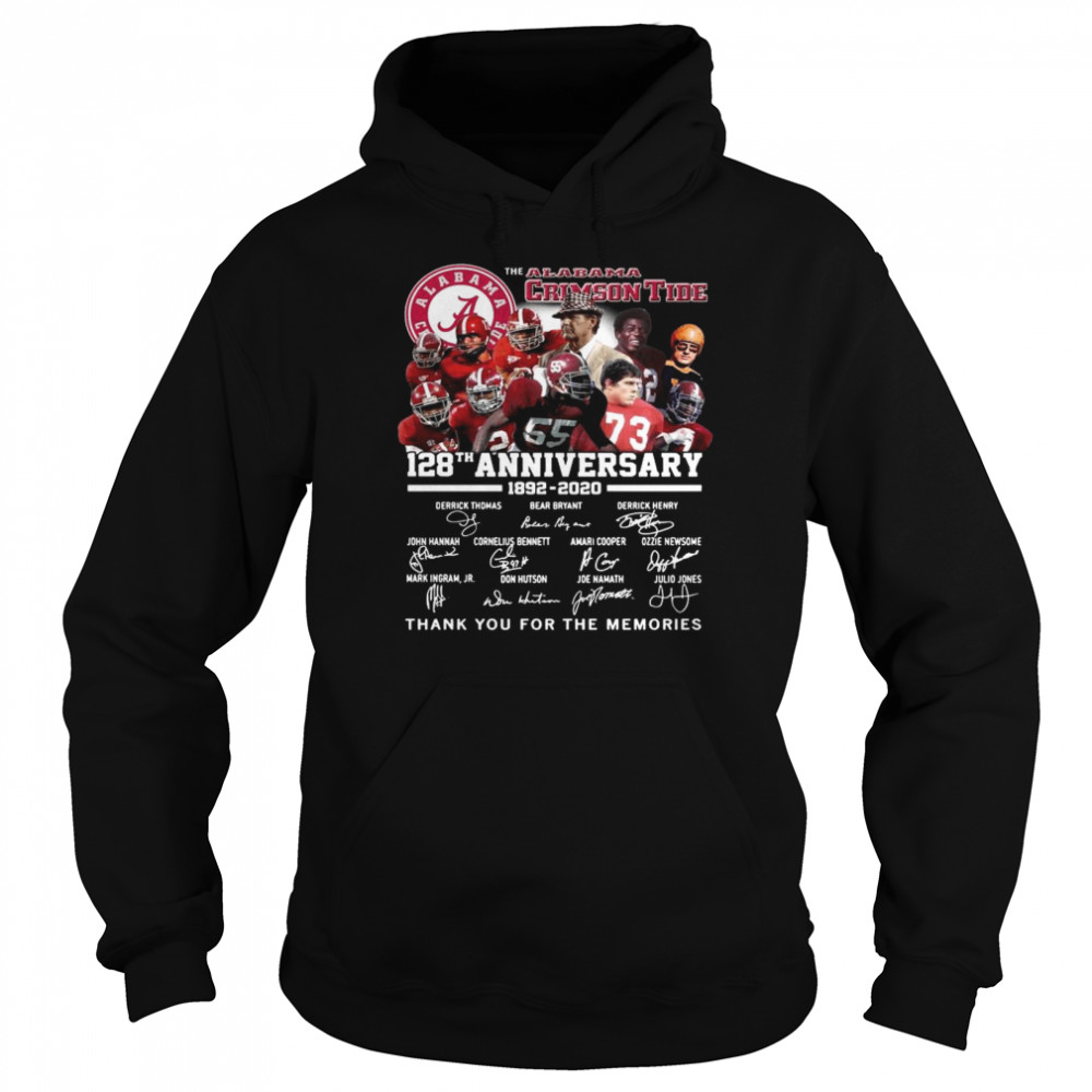 The Alabama Crimson Tide 128th Anniversary 1892 2020 Thank You For The Memories Signatures  Unisex Hoodie