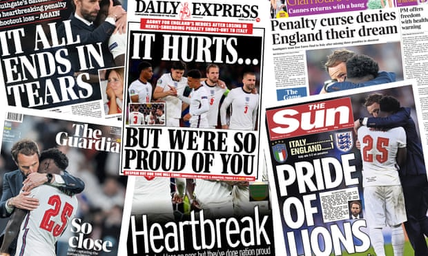 'Pride of lions' what the papers say about England's Euro final defeat